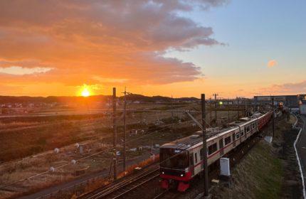 電車と田園風景2